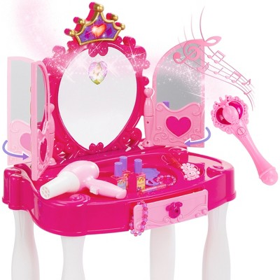 Best Choice Products Kids Vanity Mirror Set Girl Pretend Play Toy w/ Magic Wand Remote, Hairdryer, Stool & Accessories