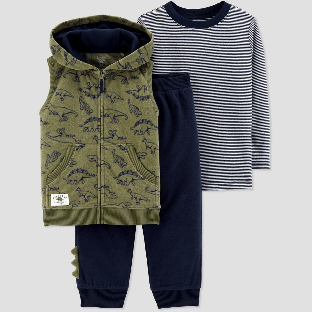 Toddler Boys' Dino 3pc Set - Just One You made by carter's Green 2T