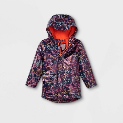 Toddler Boys' Shark Print Rain Jacket - Cat & Jack™ Navy