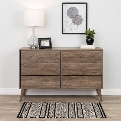 Mid-Century Modern 6 Drawer Dresser Drifted Gray - Prepac