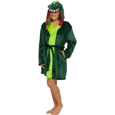 Silver Lilly - Women's Plush Dinosaur Hooded Robe