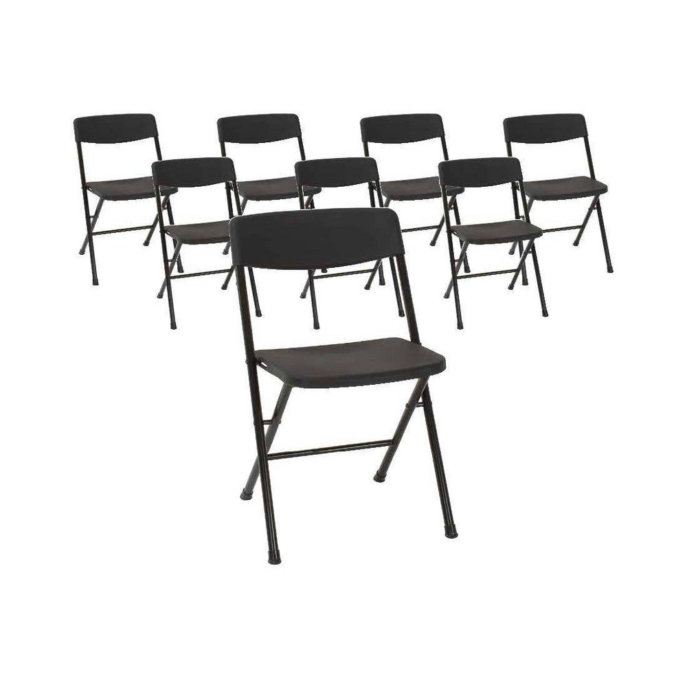Cosco Set of 8 Resin Folding Chair with Molded Seat and Back Black