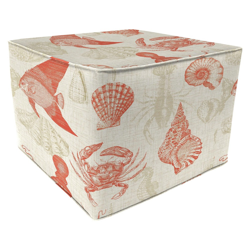 Patio Square Pouf Ottoman - Sealife Coral 20