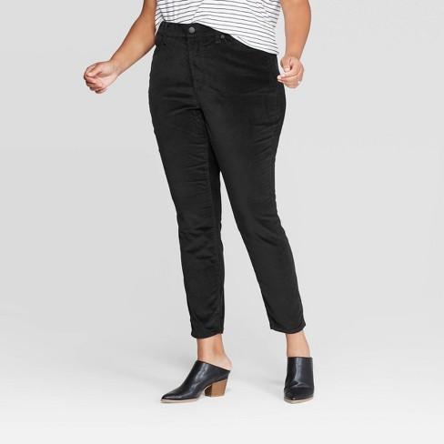 Women's Plus Size High-Rise Velvet Skinny Jeans - Universal Thread™ Black - image 1 of 3
