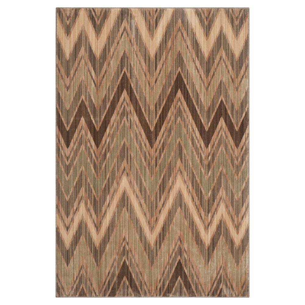 Taupe/Green (Brown/Green) Stripes Loomed Area Rug - (4'x6') - Safavieh