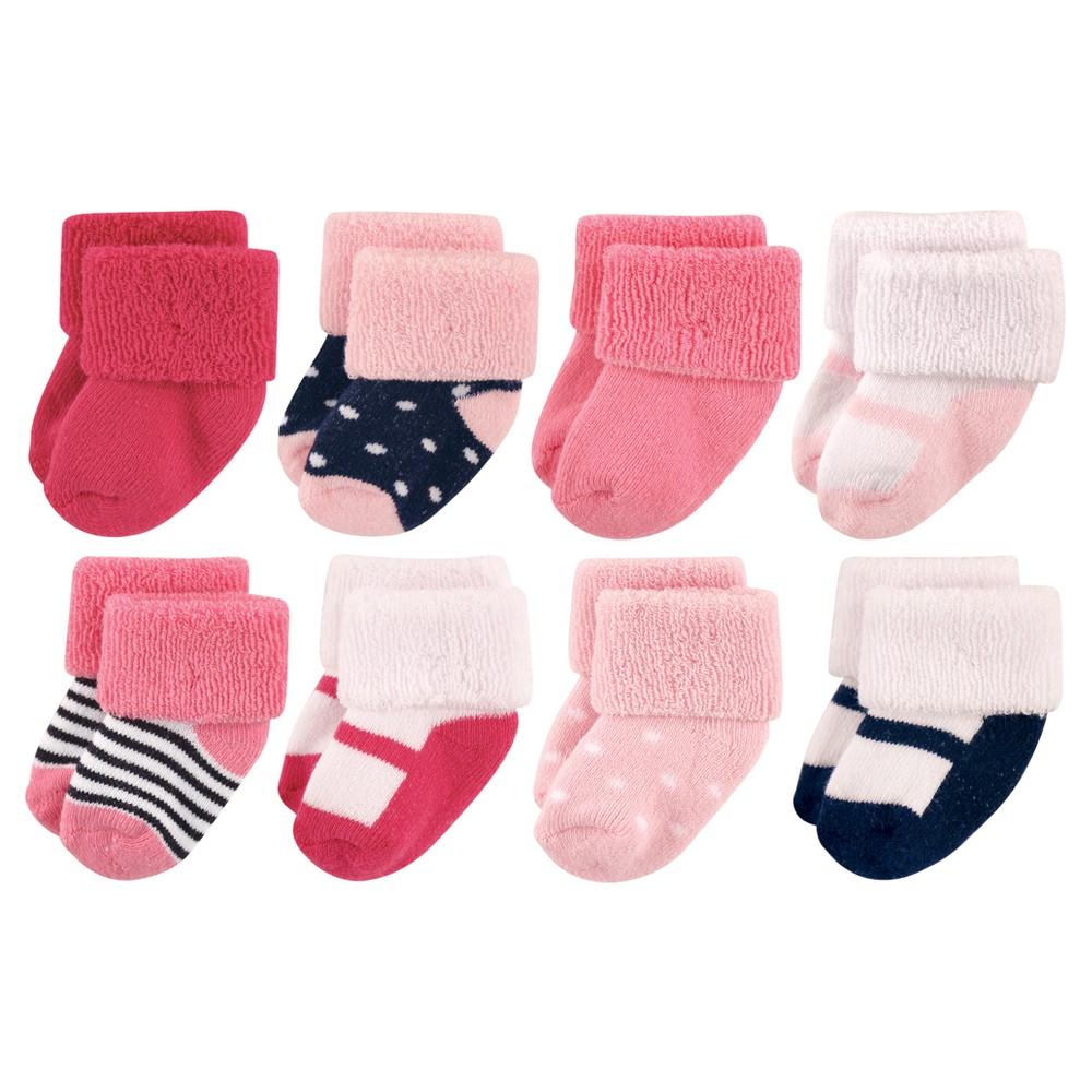 Luvable Friends Baby Girls' 8pk Sock Set - Pink 0-6M, Blue