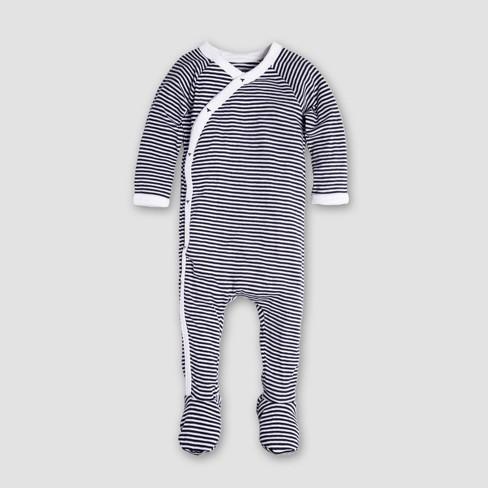 Burt s Bees Baby Organic Cotton Kimono Footed Coverall   Hat - Midnight 3cc393df9edf