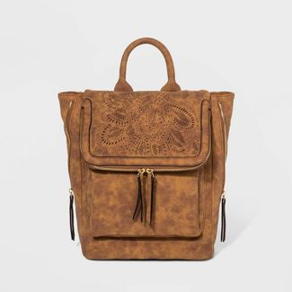 VR NYC Floral Print Woven Kendal Backpack - Cognac