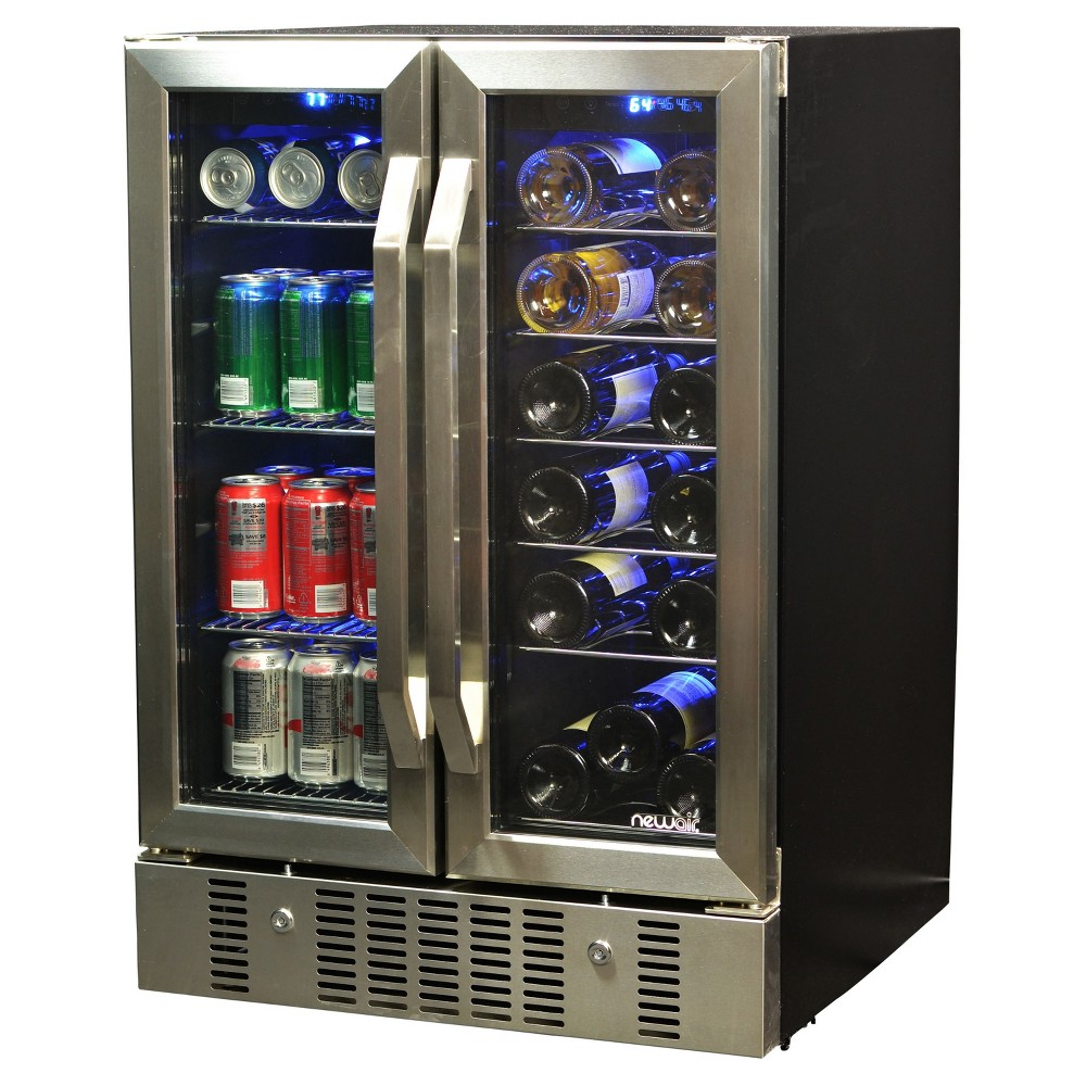 Image of NewAir 18 Bottle and 58 Can Dual Zone Beverage and Wine Cooler - Stainless Steel (Silver) Awb-360DB
