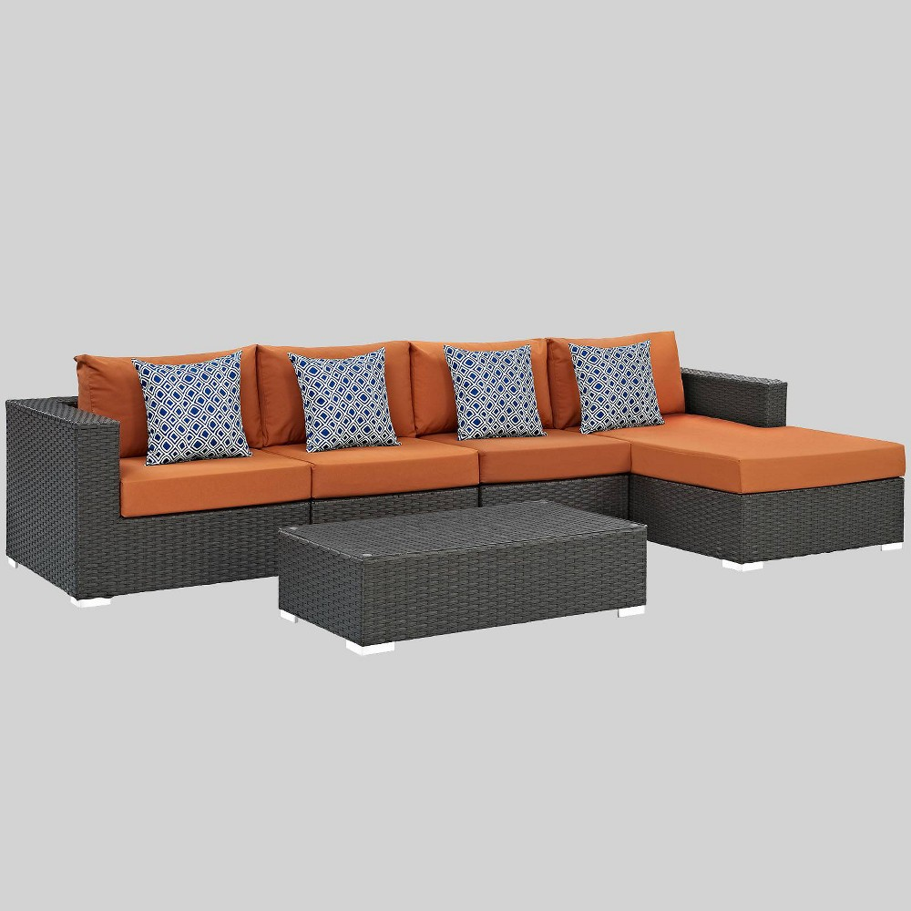 Sojourn 5pc Outdoor Patio Sunbrella Sectional Set - Tuscan - Modway