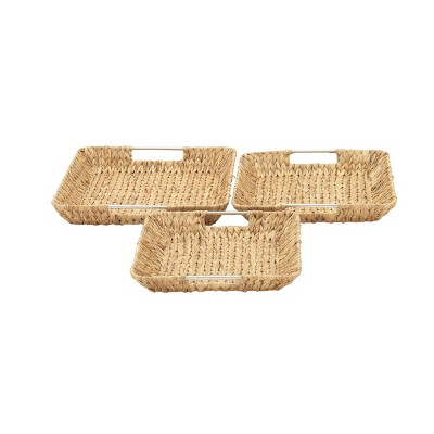 Set of 3 Contemporary Seagrass Basket Trays - Olivia & May
