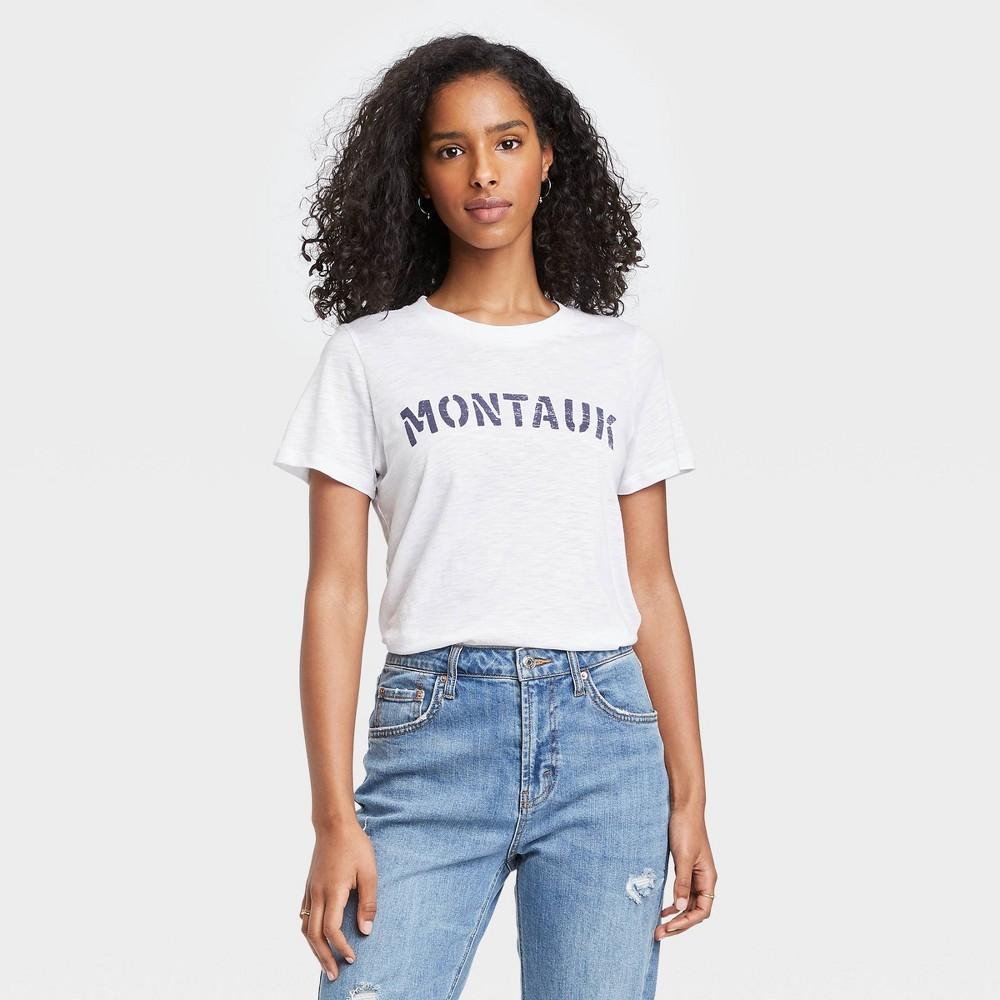 Women 39 S Montauk Short Sleeve Graphic T Shirt White Xl