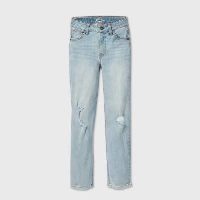 Girls' Distressed Mid-Rise Girlfriend Jeans - art class™ Light Blue