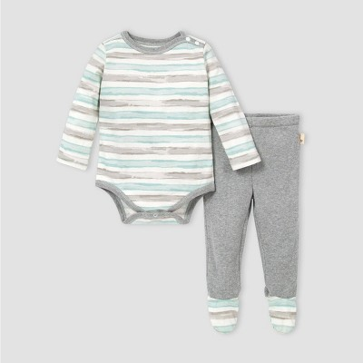 Burt's Bees Baby® Baby Striped Bodysuit and Thermal Pants Set - Blue 3M