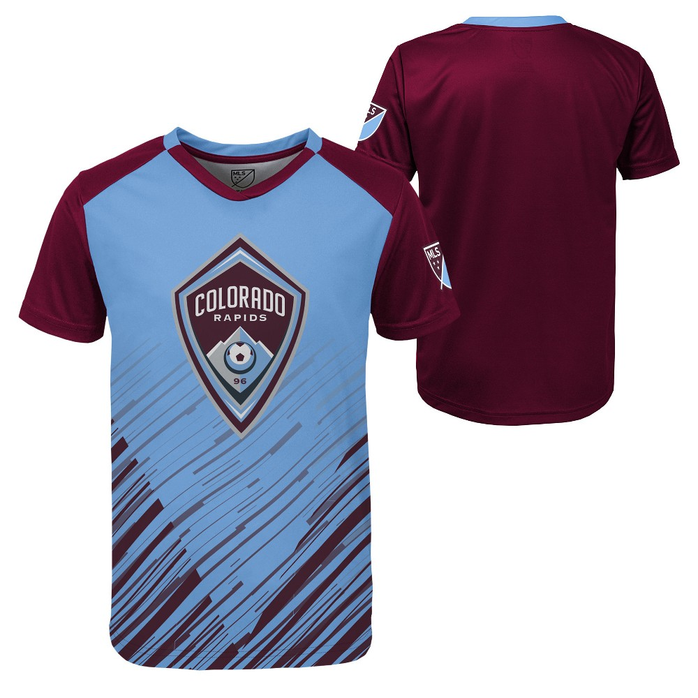Boys' Short Sleeve Game Winner Sublimated Performance T-Shirt Colorado Rapids XL, Multicolored