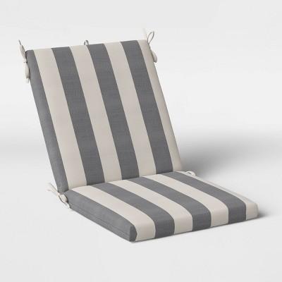 Cabana Stripe Outdoor Chair Cushion DuraSeason Fabric™ Black - Threshold™