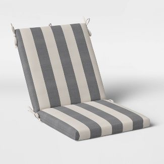 Cabana Stripe Outdoor Chair Cushion DuraSeason Fabric™ Black - Threshold™