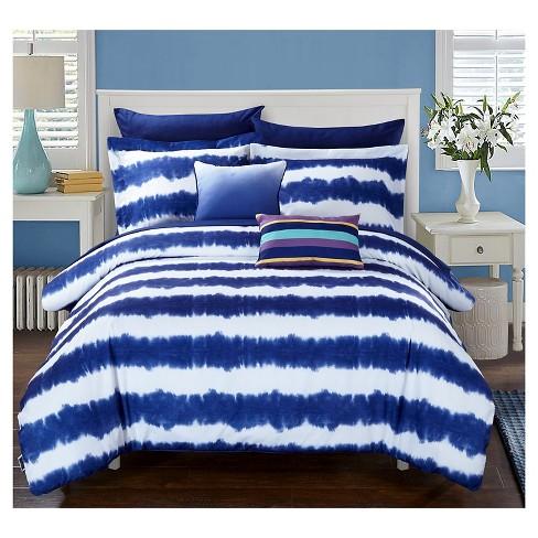Lucas Striped Shibori Tie Dye Printed Comforter Set 7 Piece (Twin