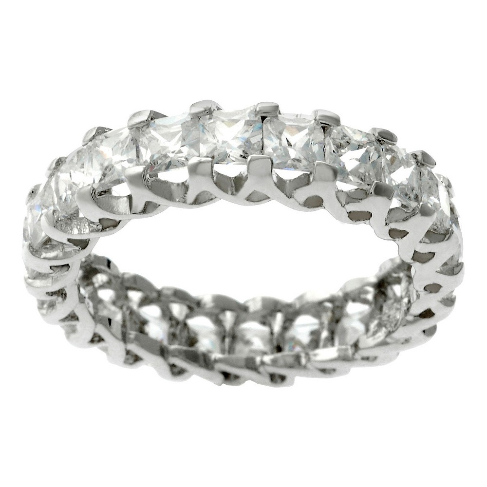 Women's Tressa Round Cut Cubic Zirconia Prong Set Engagement Band in Sterling Silver - Silver (10)