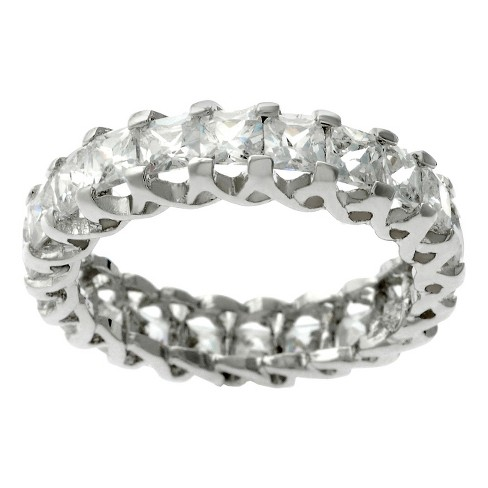 Tressa Collection Women's Square Cut Cubic Zirconia Eternity Band in Sterling Silver - image 1 of 2