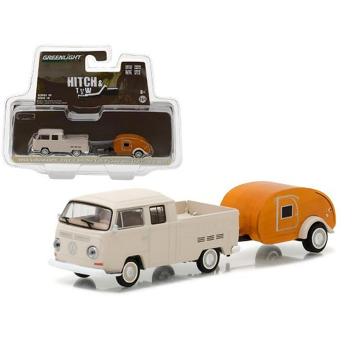 1968 Volkswagen Type 2 Double Cab Pickup and Teardrop Trailer Hitch & Tow Series 10 1/64 Diecast Model Car Greenlight - image 1 of 1