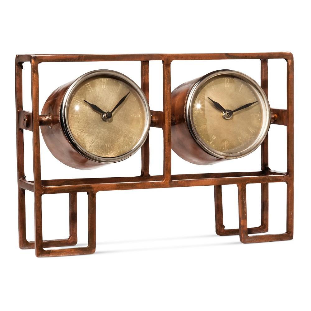 "Image of ""8.7"""" x 7"""" Double Face Desk Clock Copper (Brown) - Go Home"""
