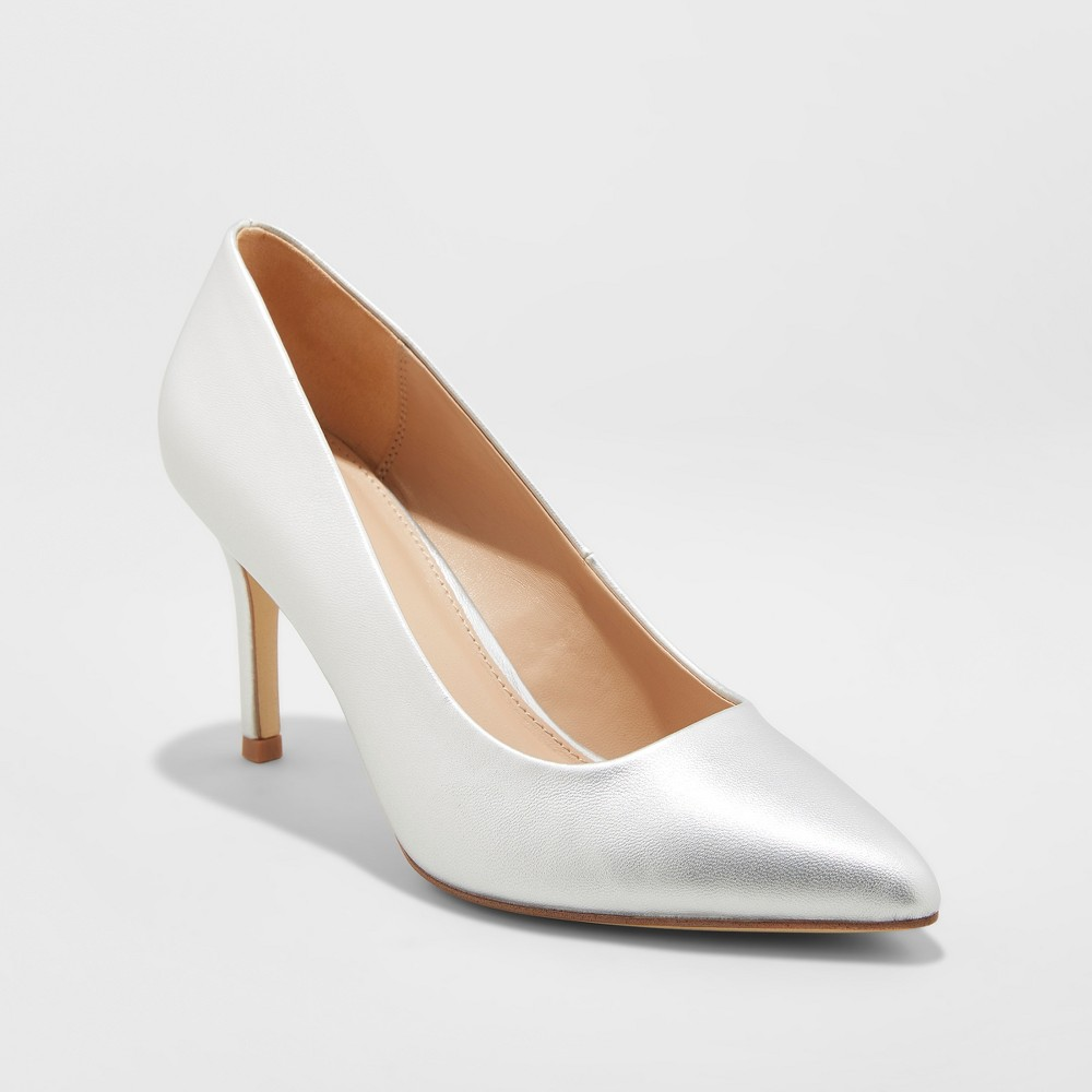 Women's Gemma Pointed Toe Heel Pumps - A New Day Silver 5.5