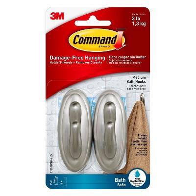 Command® Damage-Free Bath Hooks Medium 2 Hooks/4 Strips