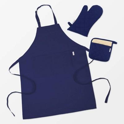 3pc Set Solid Cotton Apron Mitt Potholder Navy - MU Kitchen