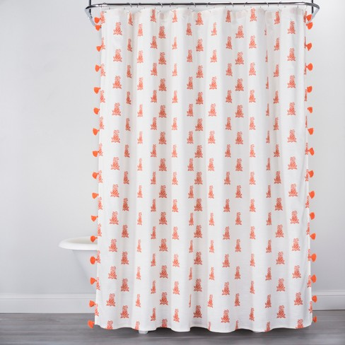 Mini Pineapple Print With Tassels Shower Curtain Orange