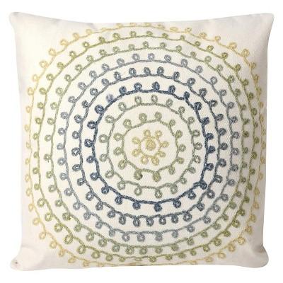Cream/Coral Ombre Threads Indoor/Outdoor Throw Pillow Cream/ (20 x20 )- Liora Manne