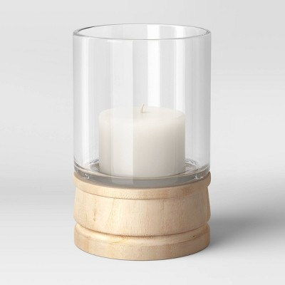 Glass/Wood Hurricane Candle Holder Brown - Threshold™