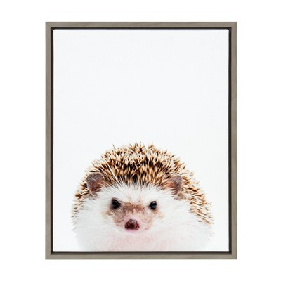 """18"""" x 24"""" Sylvie Hedgehog Framed Canvas Wall Art by Amy Peterson Gray - Kate and Laurel"""
