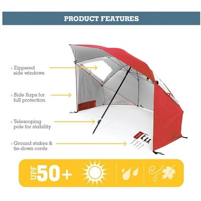 MPM Vented SPF 50+ Sun and Rain Canopy Umbrella - Red (8 Feet) 210 D Polyester, Telescoping Pole For Stability, Sun Shade, Sun Shelter, For Beach and