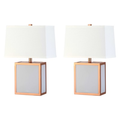 Sayer Table Lamp Copper/White 13 x7.5  (Set of 2)(Includes Energy Efficient Light Bulb)- Safavieh