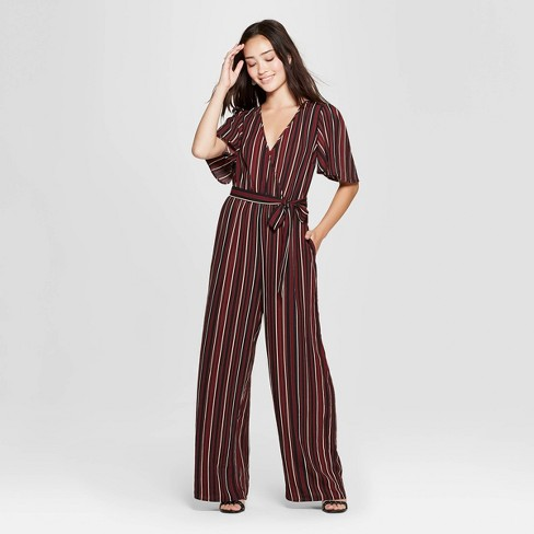 6c87fba30881 Women s Striped Short Sleeve V-Neck Wrap Striped Jumpsuit ...