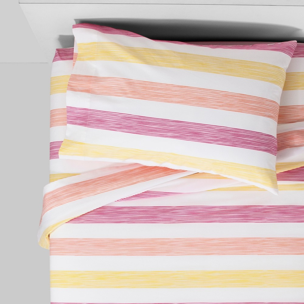 Twin Ombre Rugby Cotton Sheet Set Pink - Pillowfort