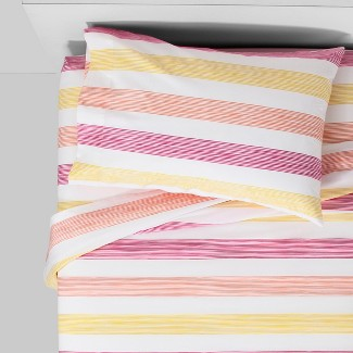 Twin Ombre Rugby Cotton Sheet Set Pink - Pillowfort™