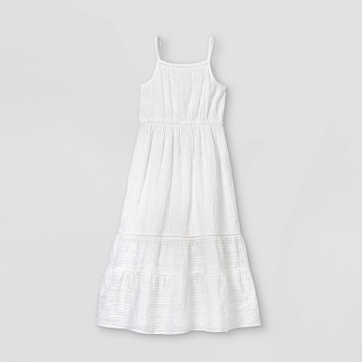 Girls' Tiered Woven Maxi Sleeveless Dress - Cat & Jack™ White