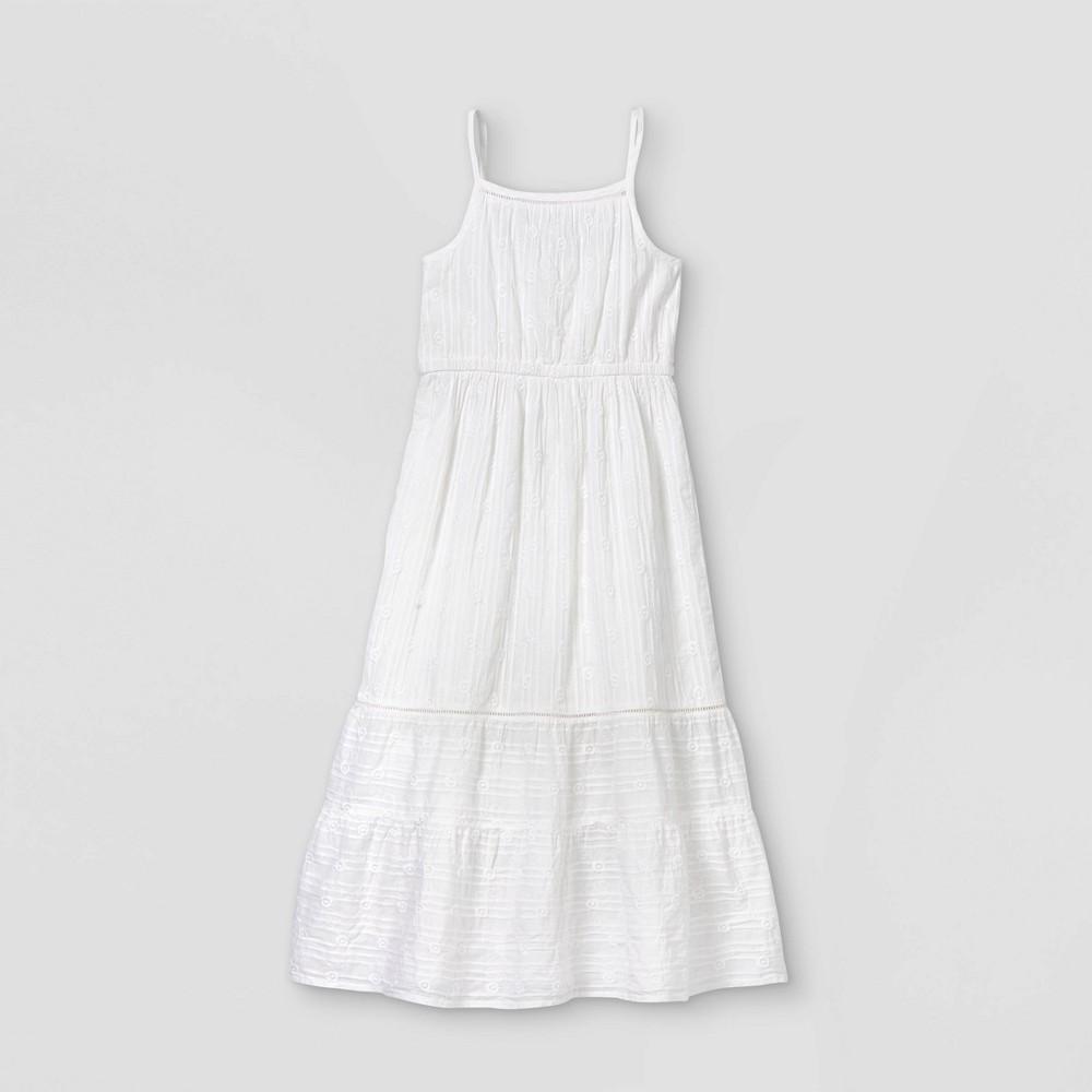 Girls 39 Tiered Woven Maxi Sleeveless Dress Cat 38 Jack 8482 White Xs