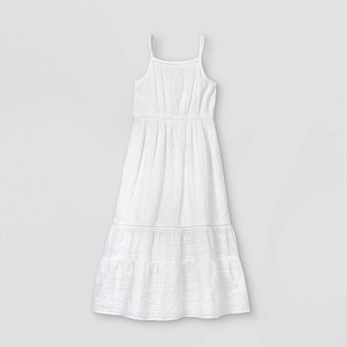 Girls' Tiered Woven Maxi Sleeveless Dress - Cat & Jack™ White - image 1 of 2