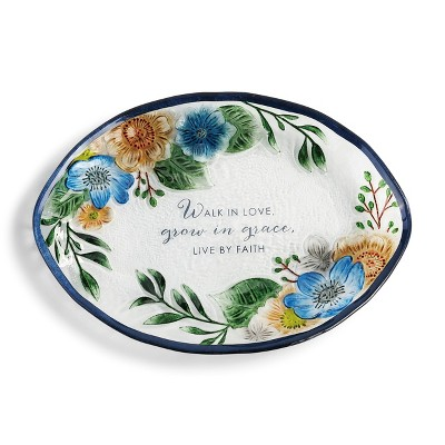 DEMDACO Walk in Love Floral Platter 14 x 10 - Clear