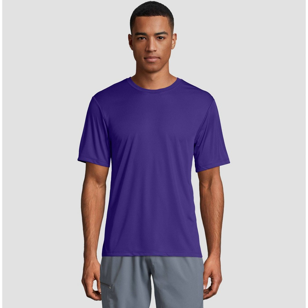 Hanes Mens Cool Dri Performance Short Sleeve T-Shirt -Purple L Cheap