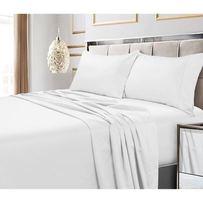 King 4pc 600 Thread Count Deep Pocket Solid Sheet Set White - Tribeca Living
