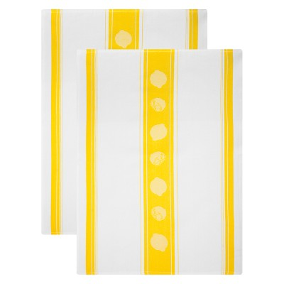 2pk Jacquard Lemon Print Cotton Towel Yellow- MU Kitchen