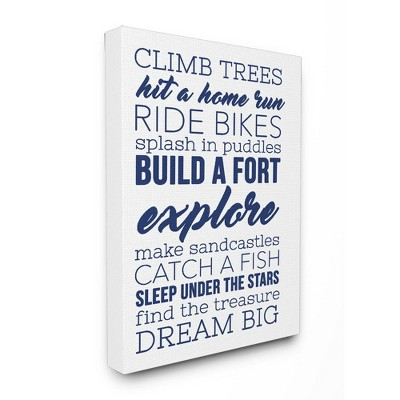 16 x1.5 x20  Climb Trees Dream Big Navy with White Stretched Canvas Wall Art - Stupell Industries