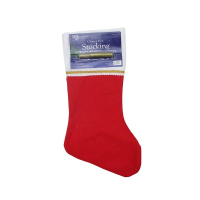 """Northlight 19"""" Red and White Soild Christmas Stocking with Gold Glitter Pen"""