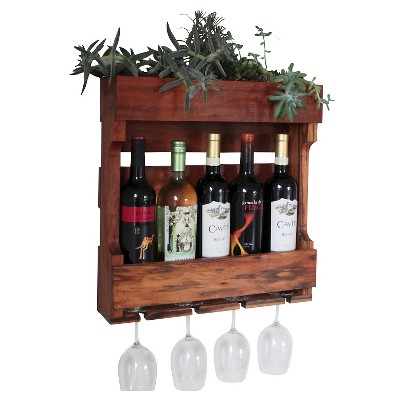 21  Wall Mounted Wine Rack with Succulent Planter Western Clear Oil Finish - Red Cedar - Gronomics