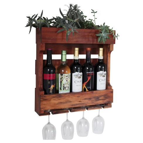 21 Quot Wall Mounted Wine Rack With Succulent Planter Western