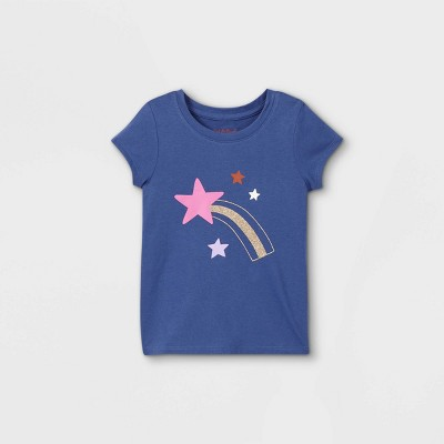 Toddler Girls' Sparkle Star Short Sleeve Graphic T-Shirt - Cat & Jack™ Navy